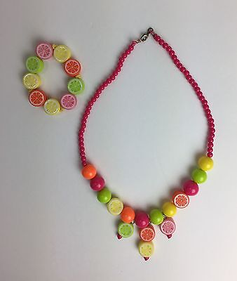 Gymboree Citrus Cooler Fruit Bracelet Necklace Set NWOT 3 4 5 6 7 8 9 10 12 Nice