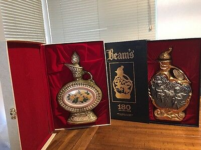 Lot Of 2 Jim B Beam Distilling Co Whiskey Decanters With Boxes