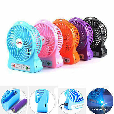 """Portable Mini 3.5"""" Travel Cooling Fan Rechargeable LED Light 3-Speed"""