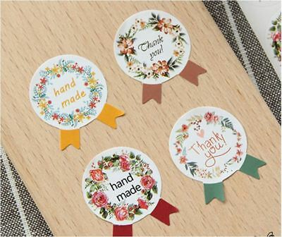12X Handmade + 12X Thank You Sticker / Self Adhesive Label / Cookies Bag Sealer