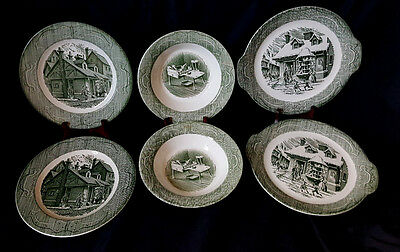 Vintage Royal China The Old Curiosity Shop 6 Piece 2 sets 4 Plates 2 Bowls Green