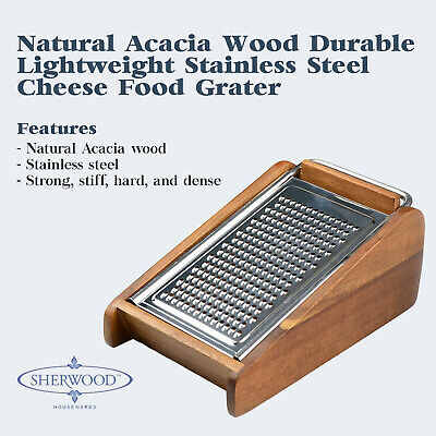 Acacia Wood Cheese Grater Zester Hand Held Food Slicer Container Stainless Steel