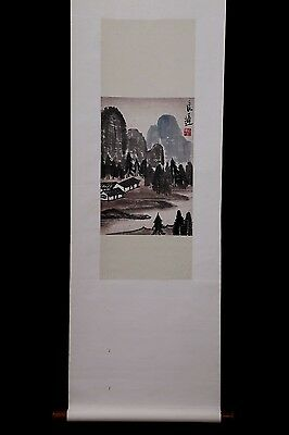 Very Long Rare Chinese Scroll Hand Painting Landscape Collection Marks PP912