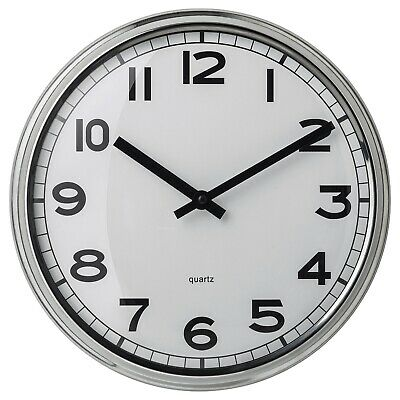 IKEA PUGG WALL CLOCK- White- 25 cm - Idle for Home & Office Work