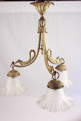 Antique French Ormulu Solid Bronze Chateau Light Fitting Chandelier Lustre Lamp
