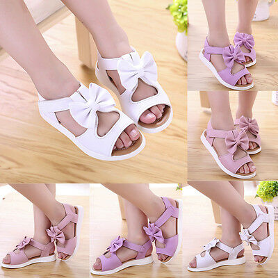 Summer Kids Children Toddler Baby Girl Beach Sandals Bow Leather Pricness Shoes