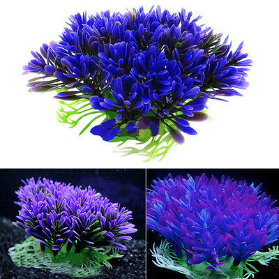 Purple Aquarium Fish Tank Underwater Water Plant Decoration Ornament Grass Lawn