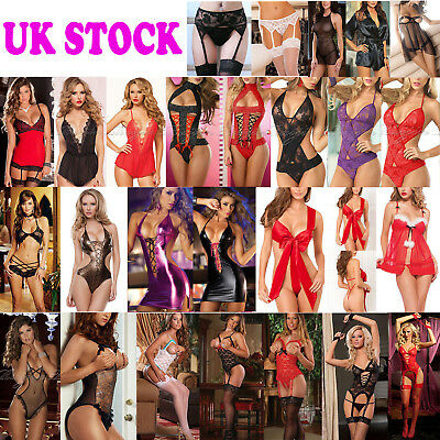 UK Women Sexy/Sissy Lingerie Lace Babydoll.G-String Thong Underwear Nightwear W