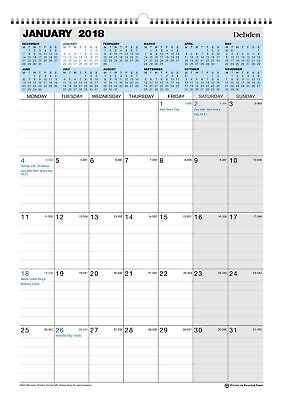 Debden 2018 12-Month Wiro Calendar Month to a View 300x432 mm CE0013