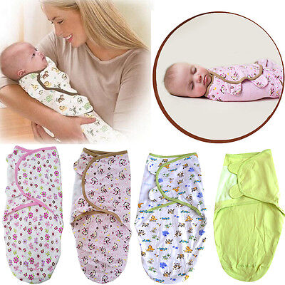 Newborn Baby Infant Kids Soft Swaddle Wrap Blanket Sleeping Bag For 0-3M/0-6M UK