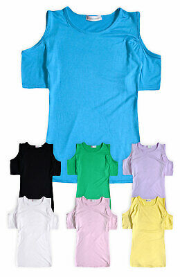 Girls Cold Shoulder Top New Kids Stretch Summer T-Shirt Tee Ages 5- 13 Years