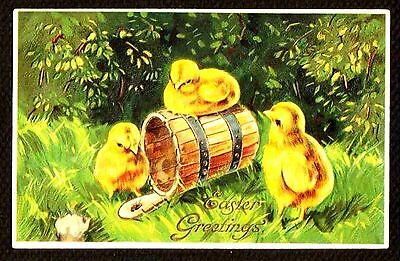 1909 Embossed Germany EASTER GREETINGS Postcard w/Bucket 3 Chicks Baby Chickens
