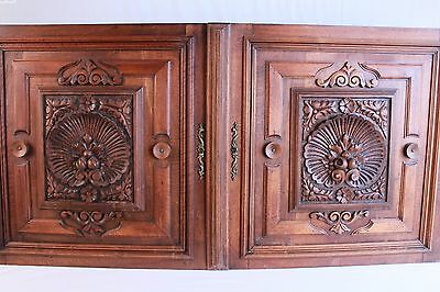Large Pair of French Antique Hand Carved Architectural Panels Door Walnut Wood