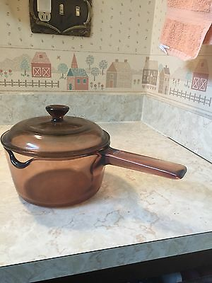 Corning Ware  Vision Ware 1 Lt. Pot / Lid  Spout Amber Colored Glass Usa