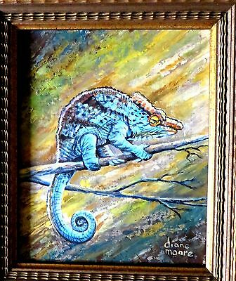 "Original Oil Painting of Colorful Parson's Lizard - 8 x 10"" in a 12 x 14: Frame"