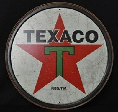 1 Texaco - Gasoline - Motor Oil Tin  Aged  Sign