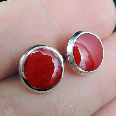 Small RED CORAL & 925 STERLING SILVER Earrings STUDS, 10 mm Diameter