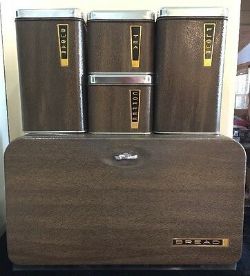 Vintage Retro Beauty Box By Lincoln BREAD Box And Canister Set Wood Grain Chrome