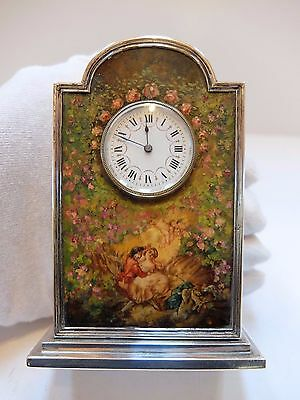 ANTIQUE STERLING SILVER & HAND PAINTED ENAMEL CLOCK (Watch video)
