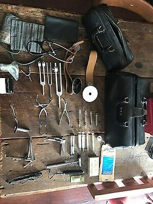 Two Antique  Old Doctor's Medical Bag - large & small - with Instruments & tools