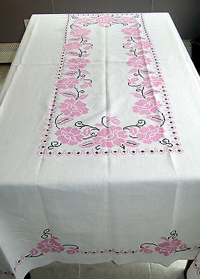 Antique Cross Stitch Embroidery Linen Hand Embroidered Tablecloth 12 Napkins