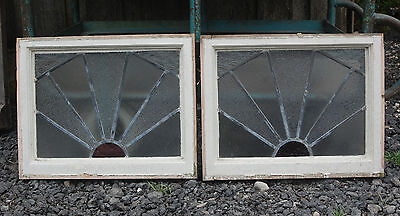 Decorative Pair Of Small Reclaimed Stained Glass Windows, Pine Frames Ref 698