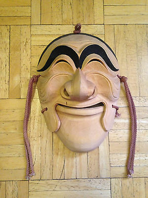 Noh Mask Japanese Dance Theater Hand Carved Wood w/ Movable Jaw~Signed.