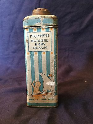 Vintage Mennen Borated Baby Talcum Shaker Lithograph Tin
