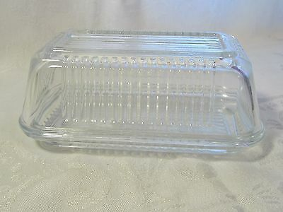 Pasabahce Clear Ribbed Glass  Refrigerator Butter Dish