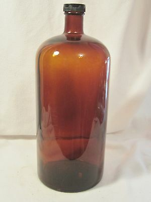 Antique / Vintage Large Brown Colored Bottle With Screw Plastic Top/ Apothecary?