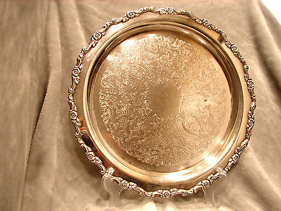 "Oneida Round Silver Platter 12"" Silver Plate No Tarnish Quality Looks Rich"