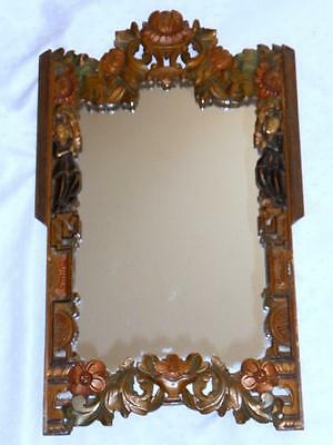 Antique Chinese Hand Made Carved & Painted Wooden Mirror Circa 1900