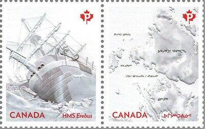 ca. FRANKLIN EXPEDITION, HMS EREBUS,Embossed Pair fr sheet of 16,MNH Canada 2015