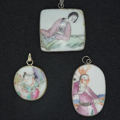 SET of 3 ANTIQUE EARLY 20c CHINESE PORCELAIN TILE PENDANT w STERLING MOUNT