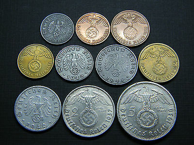 Complete Set of WW2 German 3rd Reich Coins All w/Sw. 1 Pf to 5 RM Silver