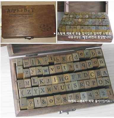 Set of 70 Alphabet DIY Decor Craft Scrapping Book Wedding Wooden Stamp with Box
