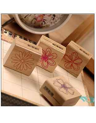 Set of 4 FLOWER SQUARE DIY Decor Craft Scrapping Book Wedding Wooden Stamp