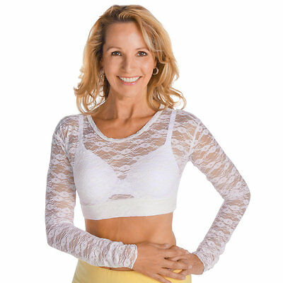Women's Elegant Long Sleeves Lace Cropped Cami, by Collections Etc