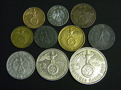 Complete Set of WW2 German Reich Coins All w/Sw 1 Pf to 5 RM Silver
