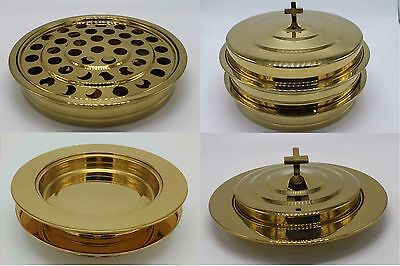 Brasstone-2 Communion Trays with 1 lid and 2 Bread Trays with 1 lid