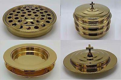 Brasstone-3 communion trays with 1 lid and 2 bread trays with 1 lid