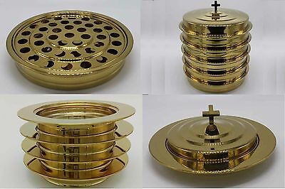 Brasstone--5 communion trays with 1 lid and 4 bread trays with 1 lid