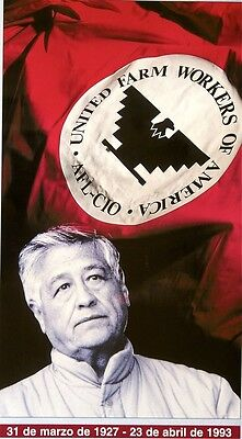 United Farm Workers (Ufw)  Poster - Caesar Chavez - With Time Line - Scarce