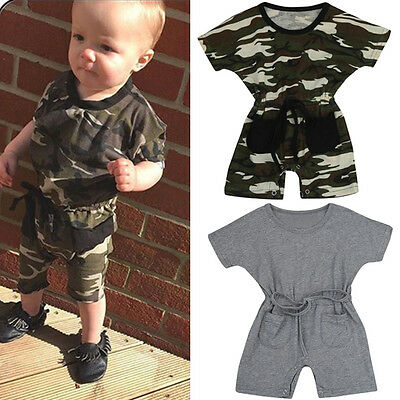 Toddler Newborn Baby Infant Boy Girl Romper Jumpsuit Bodysuit Outfits Clothes UK