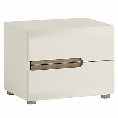 Furniture To Go Chelsea 2-Drawer Bedside, 50 x 41 x 42 cm, White Gloss