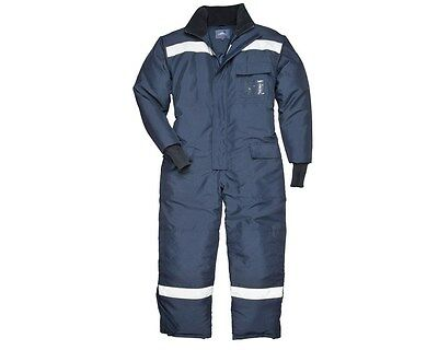 Portwest CS12 Navy Thermal Cold Store Refrigeration Reflective Coverall L4 CA3