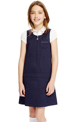 EX M&S Girls SCHOOL PLEATED PINAFORE SCHOOL UNIFORM NAVY BLUE DRESS 2-12 YEARS