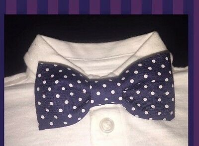 Handmade Baby-toddler Boys Clip On Bow Tie Party Fancy Polka Dot Navy Blue