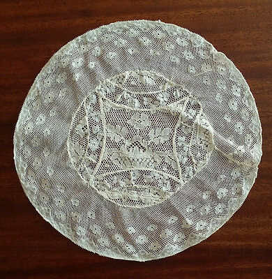 VINTAGE 19th Century French NORMANDY Net LACE Fine ANTIQUE Floral Round DOILY
