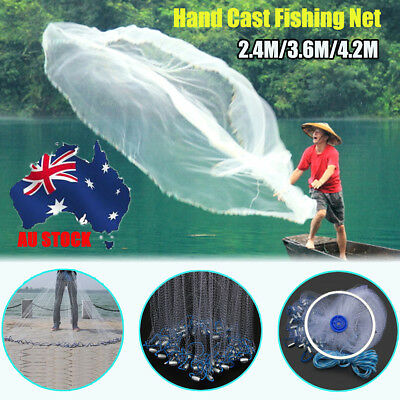 AU 8ft/12ft Hand Throw Nylon Fishing Gill Mesh Cast Spin Bait Net Network Sinker